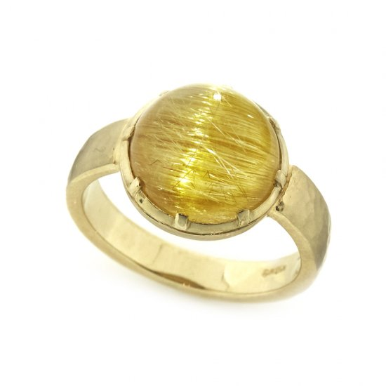 Cut Down Ring Cat's eye Rutile quartz / 1912-023