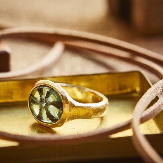 Trapiche Emerald rough ring/2105-002