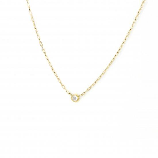 dome shape diamond long necklace / 1411-006