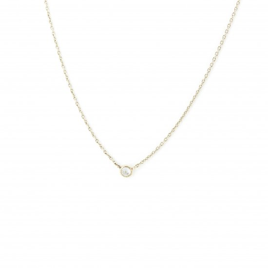 dome shape diamond long necklace / 1411-008