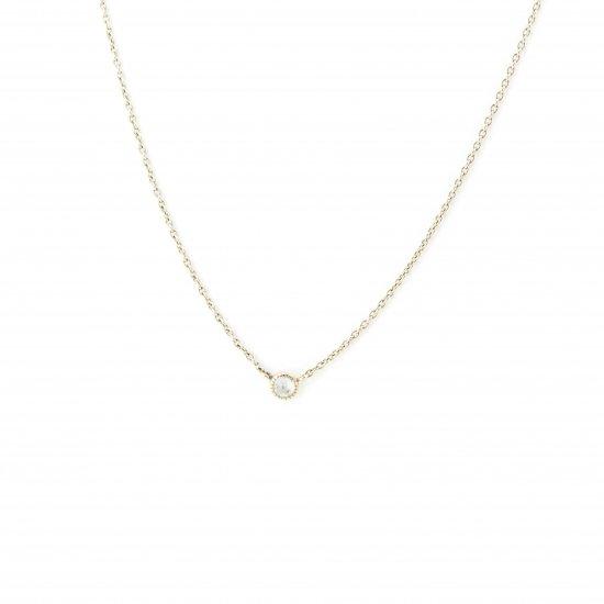 dome shape diamond long necklace / 1411-008