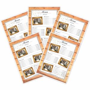 メニュー料金表|サロンメニュー案内に!ラミネート加工付(木目ウッドデザインテンプレート01)