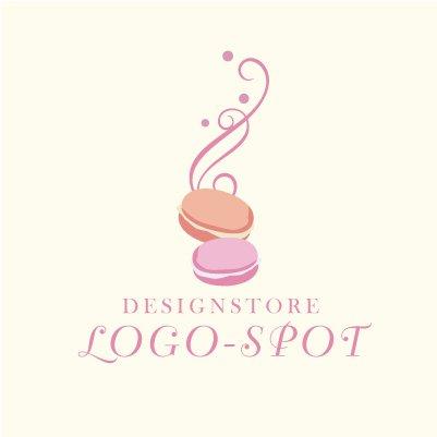 【大人かわいいマカロンモチーフロゴ】フェミニンな可愛いお菓子ロゴマーク