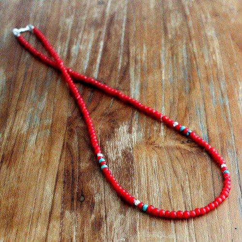 カレンシルバー ホワイトハーツ ターコイズ ネックレス 3mm フックタイプ ロング ショート