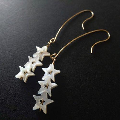 14kgf Triplet Star  3連符のリズムを奏でる星々のピアス・ロング