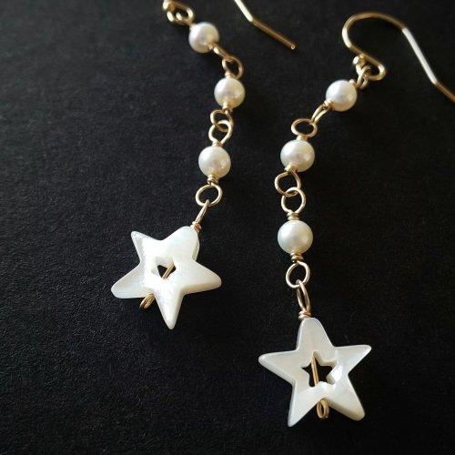 14kgf Horoscope -パールとシェルの星座ピアス