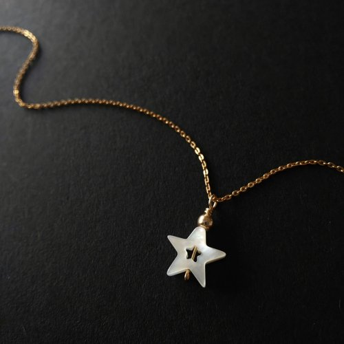 14kgf  シェル星のひと粒ネックレス 40cm