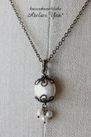 アンティーク調のコインパールのネックレス 真鍮