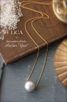 【LiCA & Atelier Yuu*・コラボアクセサリー】コットンパールのロングネックレス K14GF