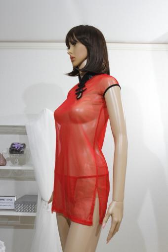 コスプレ シースルー チャイナドレス 赤色
