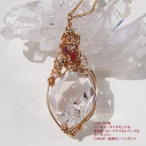USA NY産 ハーキマーダイヤモンド原石 & 宝石質(ロードナイト&トパーズ&ガーネット) 14KGF(金張り) ペンダント