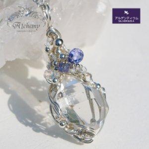 NY産 ハーキマーダイヤモンド & 宝石質(タンザナイト&トパーズ&レインボームーン) シルバーペンダント