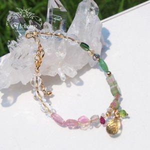 *ハトホル女神の豊穣のブレスレット  ウォーターメロン トルマリン&ヒマラヤ水晶&シトリン 14KGF