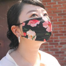 くり返し洗って使えるリバーシブルマスク / mask -アンティーク花柄ブラック-