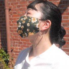くり返し洗って使えるリバーシブルマスク / mask -アンティーク花柄グリーン-
