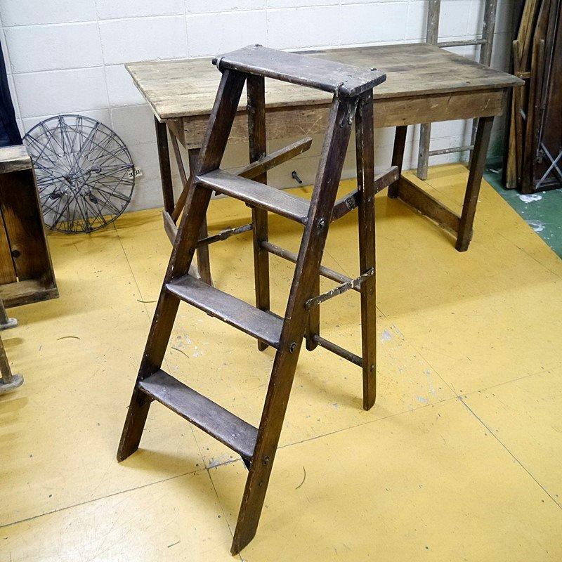 ビンテージ ウッドミドルラダー/木製梯子40'S style=