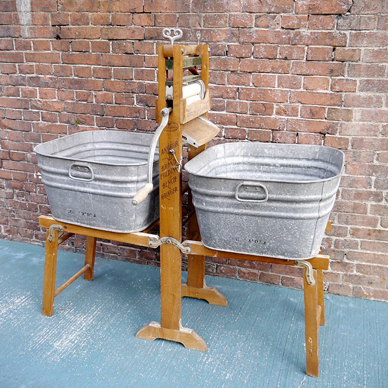 ビンテージ WASHING&WRINGER/手洗い&絞り器/ANCHOR BRAND FOLDING BENCH WRINGER style=