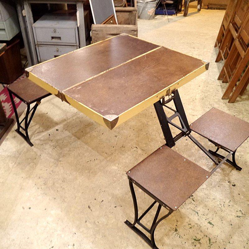ビンテージ 折りたたみアウトドアテーブル&チェア/スーツケーステーブル style=