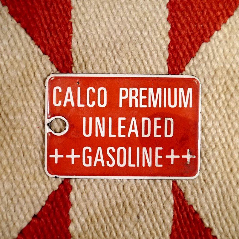 ビンテージ ホーロー製ガソリンポンプパネル CALCO PREMIUMUNLEADED GASOLINE style=