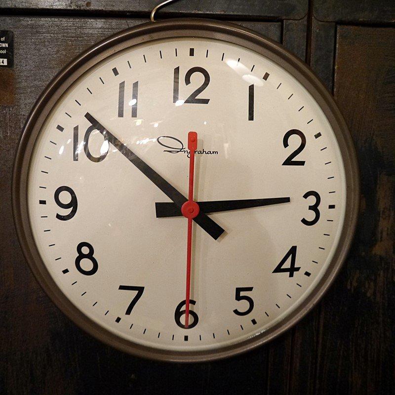 ビンテージ「INGRAHAM」社製スクールクロック/スイープ式ムーブメント式掛け時計 style=