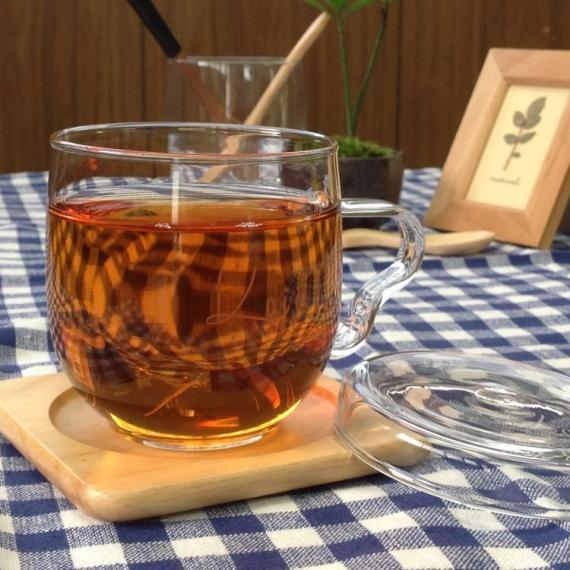 【ガラス】ティーメイトR型 名前入りフタ付きマグカップ(茶漉し付き)