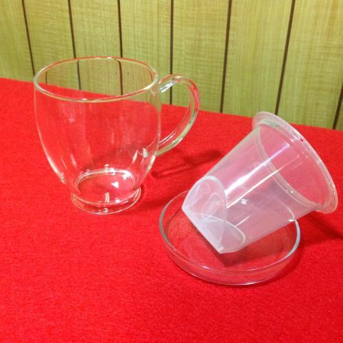 【ガラス】ティーメイトGCI-78T 名前入りマグカップ(フタ・茶漉し付き)