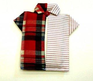 Yシャツ型ポケットティッシュカバー(チェック・レッド)