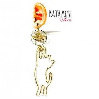 猫と土星の片耳ピアス/イヤリング
