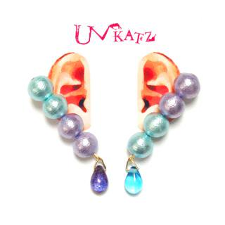 【OUTLET】Ukatz NO.281-2 バイカラーピアス(ライパープル×ライトブルー)