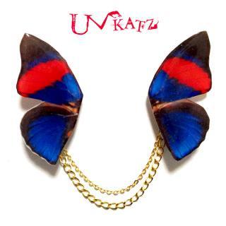 Ukatz NO.467-2  蝶の羽根ネックブローチ(レッド×ブルー)