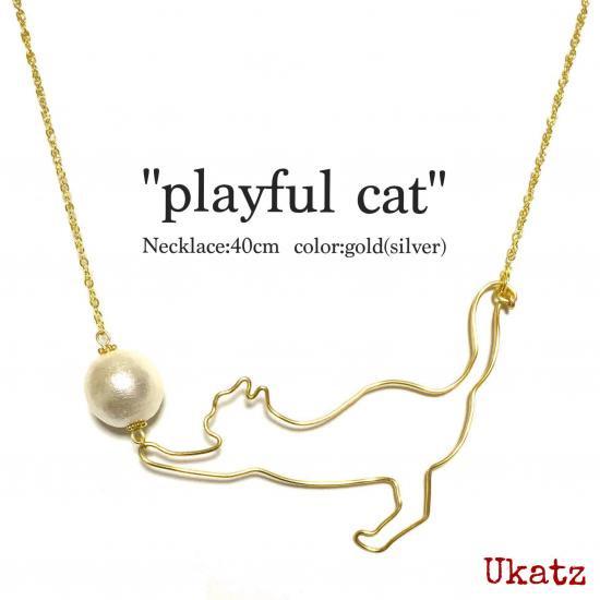 "Ukatz NO.408 ""playful cat""ネックレス"