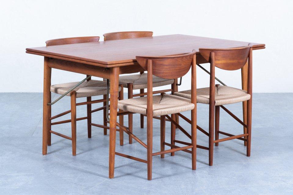 【T様 ご決済専用 N】Peter Hvidt & Orla Molgaard Nielsen ダイニングテーブル  model.316 ダイニングチェア チーク 4脚セット