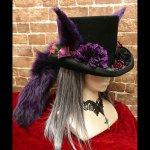 耳しっぽシルクハット 紫