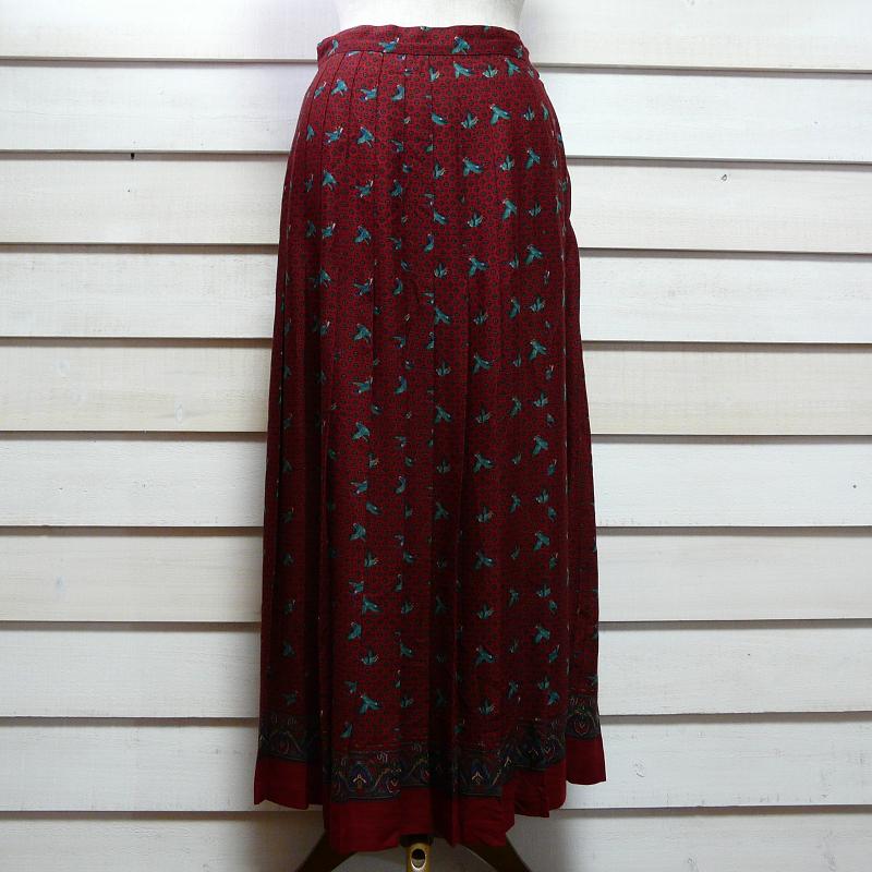 70-80's duck pattern プリントプリーツスカート w27