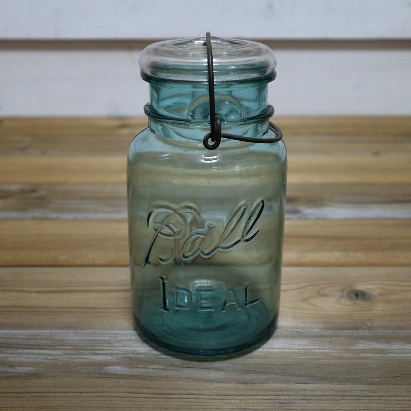 ヴィンテージ メイソンジャー Ball Mason jar ブルー×ホワイト