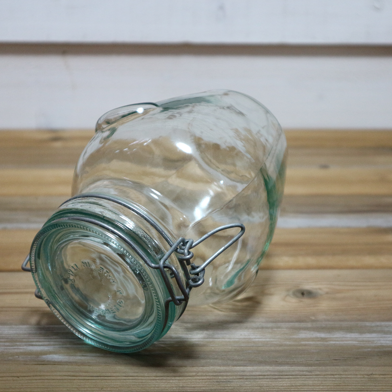 Vintage ビンテージ Hermetic Green Glass Jar キャニスター イタリア製  Made in Italy