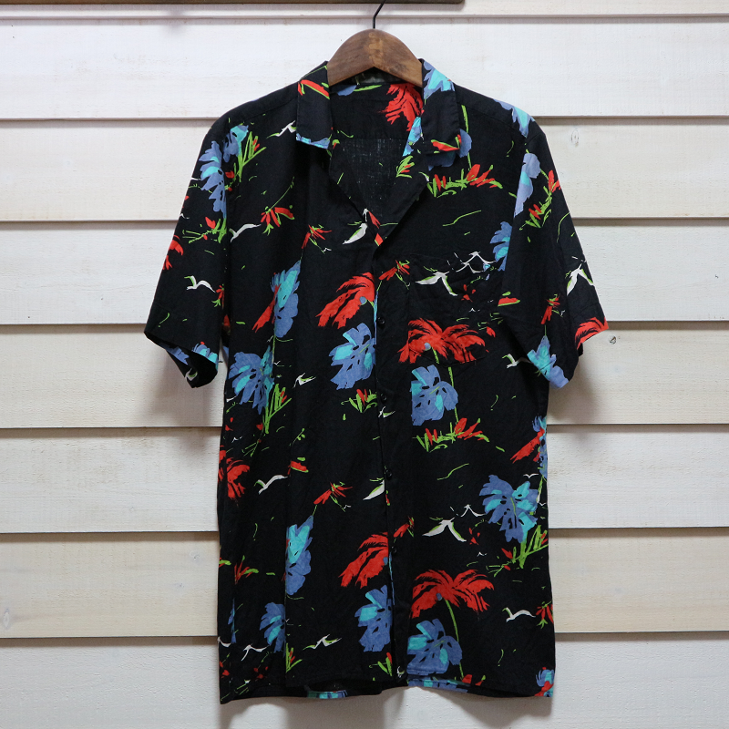 古着 Hawaiian コットン アロハシャツ 黒