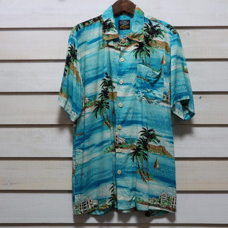 古着 Hawaiian レーヨン men's アロハシャツ 青 ヤシの木柄