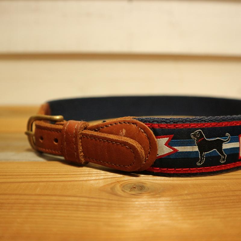 古着 USA アメリカ仕入れ Leather レザー キャンバス ベルト 犬柄 w26-28