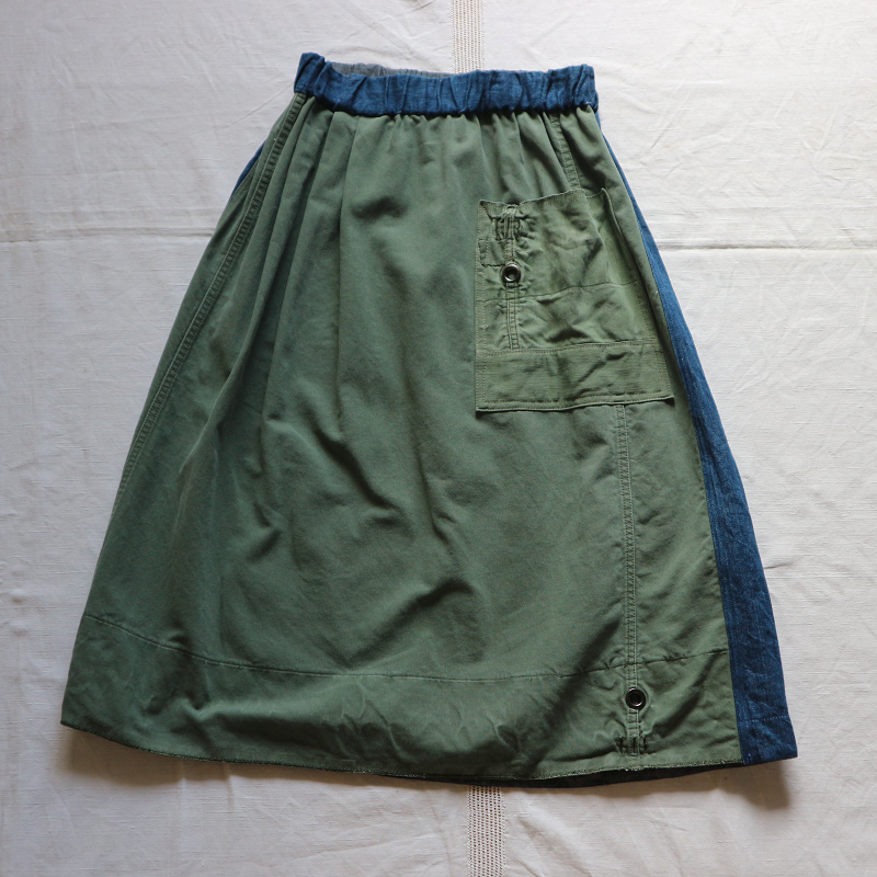 Vintage Remake U.S.ARMY Laundry Bag × Japan 麻デニム リメイクスカート #1