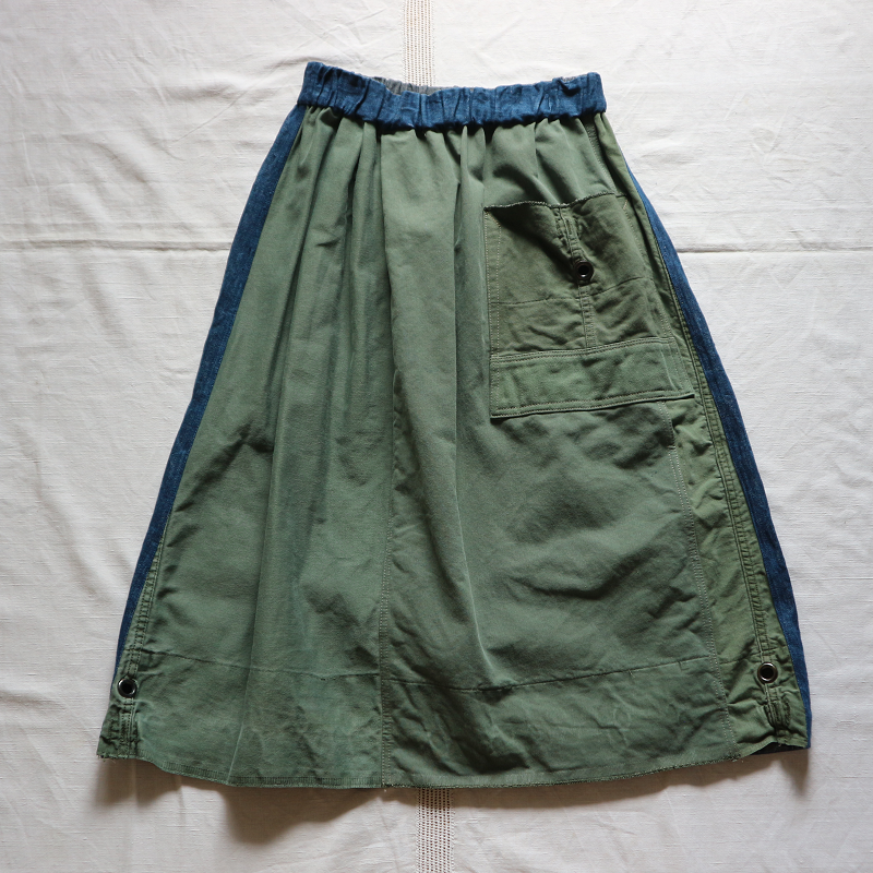 Vintage Remake U.S.ARMY Laundry Bag × Japan 麻デニム リメイクスカート #2