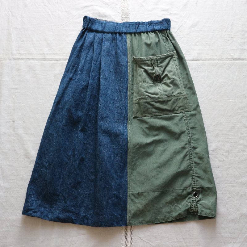 Vintage Remake U.S.ARMY Laundry Bag × Japan 麻デニム リメイクスカート #4