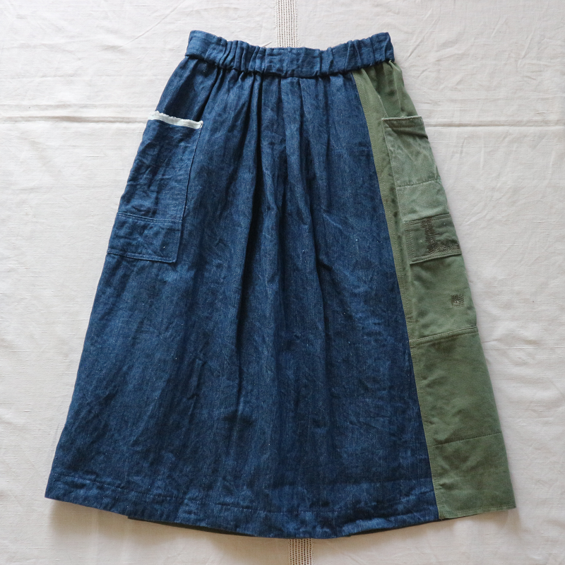 Vintage Remake U.S.ARMY Laundry Bag × Japan 麻デニム リメイクスカート #5