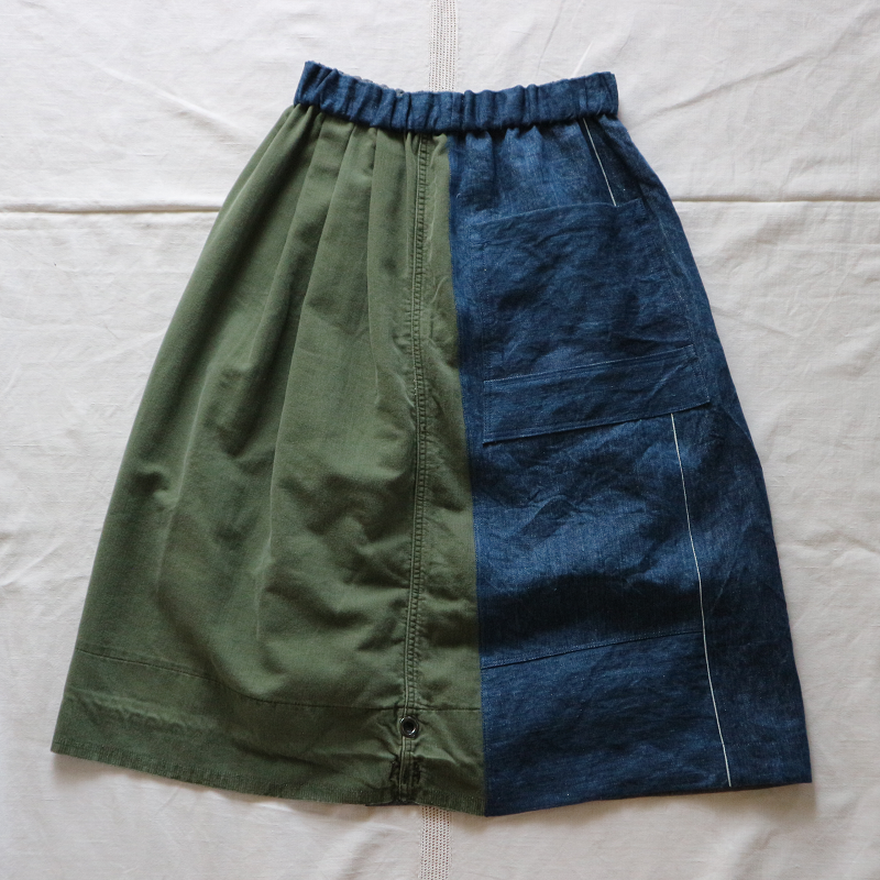 Vintage Remake U.S.ARMY Laundry Bag × Japan 麻デニム リメイクスカート #7