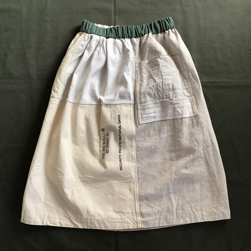 vintage french military フランス軍リネン × アメリカBANK BAG リメイクスカート #1