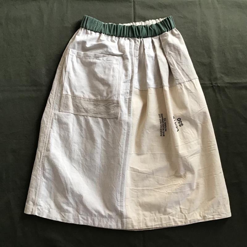 vintage french military フランス軍リネン × アメリカBANK BAG リメイクスカート #3