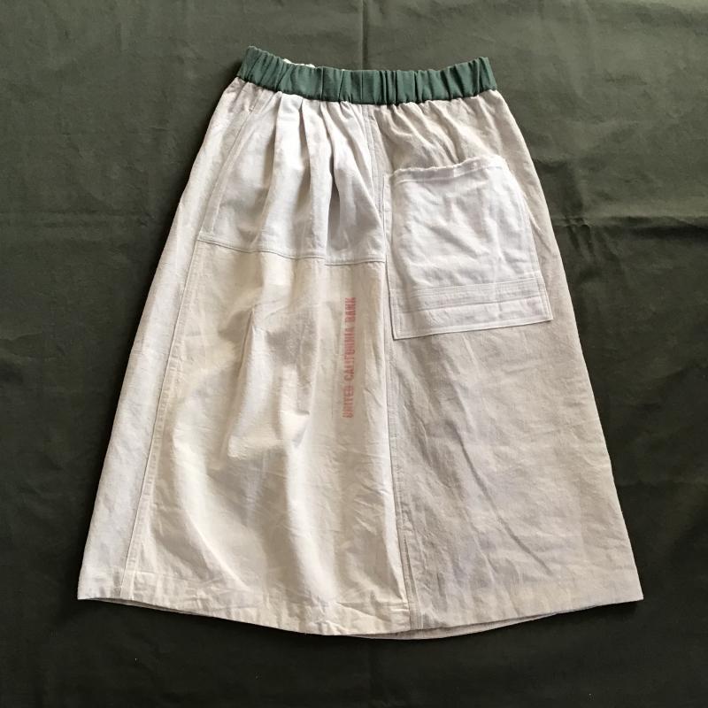 vintage french military フランス軍リネン × アメリカBANK BAG リメイクスカート #5