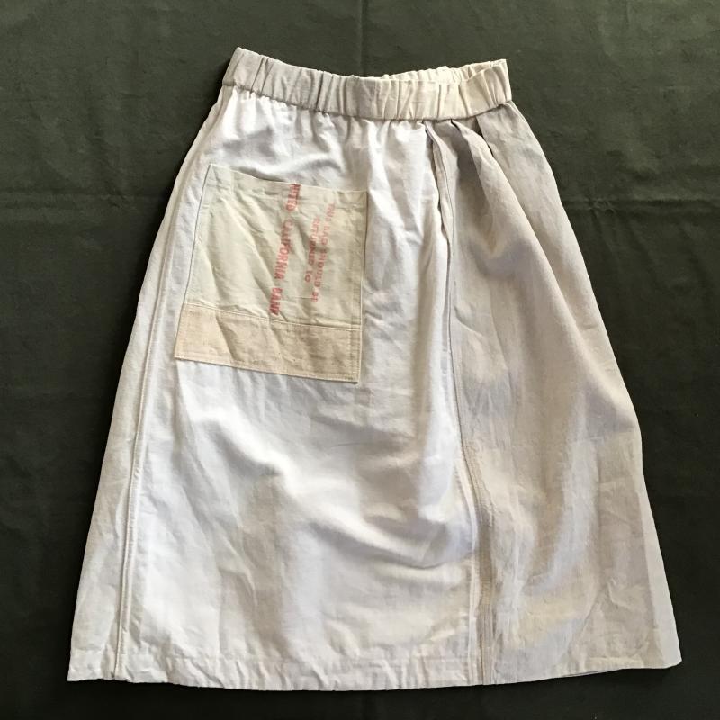 vintage french military フランス軍リネン × アメリカBANK BAG リメイクスカート #6