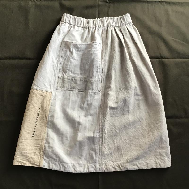 vintage french military フランス軍リネン × アメリカBANK BAG リメイクスカート #7