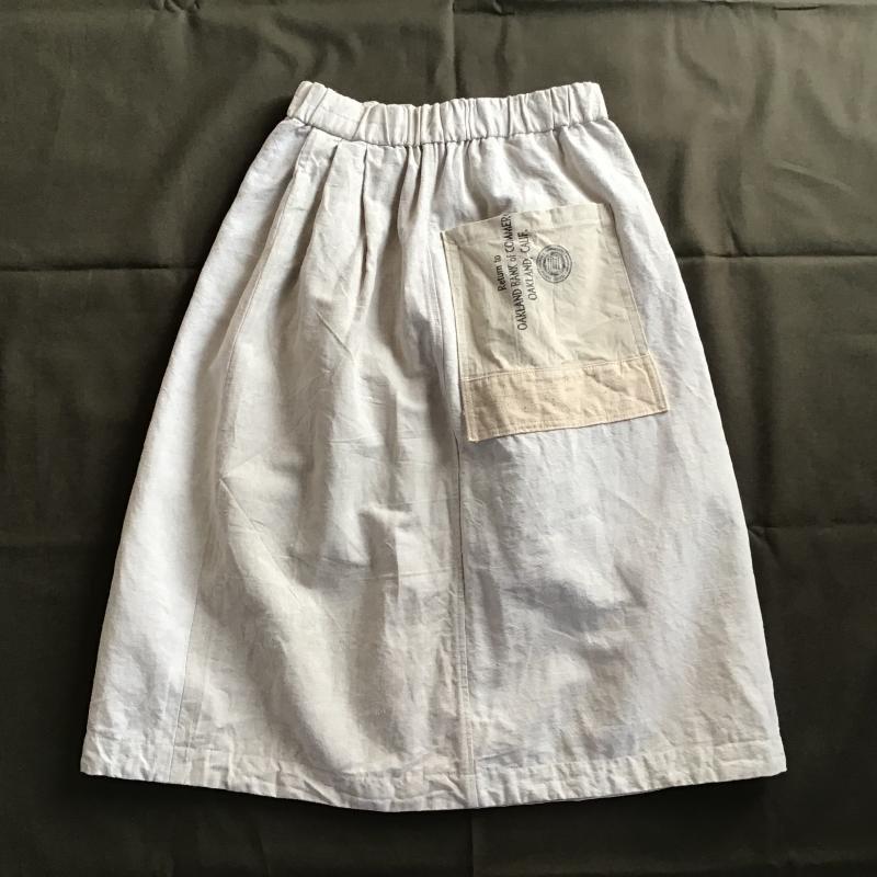 vintage french military フランス軍リネン × アメリカBANK BAG リメイクスカート #8